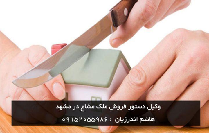 وکیل دستور فروش ملک مشاع در مشهد